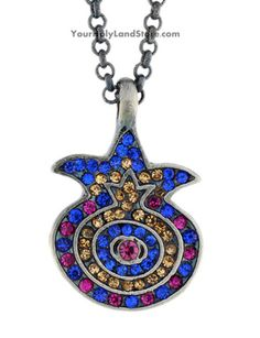 This Magnificent Pomegranate Necklace with Sparkling Crystals is a perennial symbol of Judaism and the Jewish people. #necklace #jewelry #jewellery #Jewish #judaism #judaica #pendant #gifts #charms