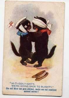 BLACK  CATS DANCING BACK TO BLIGHTY   INTER-ART  OLD  POSTCARD