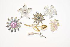 Vintage Rhinestone Flower Brooch Destash by LustfulJewels on Etsy