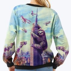 Who+doesn't+love+Sloths?+Especially+a+King+Kong+Sloth!+This+fun+sweatshirt+is+a+quirky+and+comfortable+piece+to+put+you+and+the+people+around+you+in+a+good+mood!+:-)+It's+a+great+fall+and+winter+piece+that+you+will+want+to+wear+again+and+again! Material:+Polyester+&+Spandex. Measurements: ...