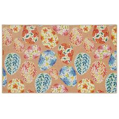 The Holiday Aisle It won& be difficult hunting for Easter eggs on this scatter rug. Featuring over a dozen colorful floral and ivy-filled Easter eggs on a light blue background, the colorful egg is the perfect addition to your home this spring.