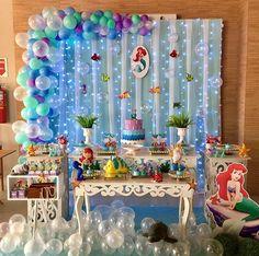 Birthday party frozen decoration kids ideas for 2019 Frozen Decorations, Mermaid Party Decorations, Birthday Party Decorations, Birthday Parties, Mermaid Theme Birthday, Little Mermaid Birthday, Little Mermaid Parties, Partys, First Birthdays
