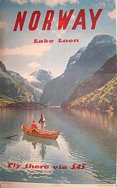 Poster: Norway - 1958 - Lake Loen Artist: John Tedford Publisher: Norwegian State Railways    Printed by: Offset by Dreyer A/S