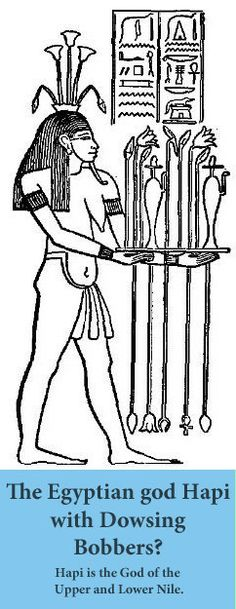 Hapi, the god of the upper and lower Nile, holding dowsing instruments?
