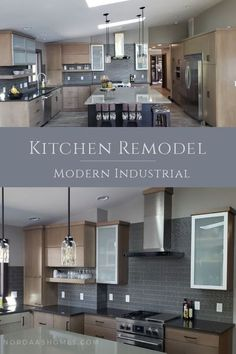 Be on trend with this amazing modern industrial contemporary kitchen that features modern sleek cabinets, grey subway tile, reclaimed wood flooring and shiny quartz concrete looking countertops. Renovation by Nordaas American Homes #kitchendesign #contemporary