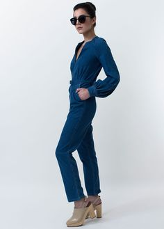 Silt V Neck Denim Jumpsuit with Belted Waist I Rachel Comey
