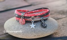 Bracelet cordon liberty 2 tours _ breloque étoile et sequin émaillés _ corail gris et argenté : Bracelet par lillicrapote