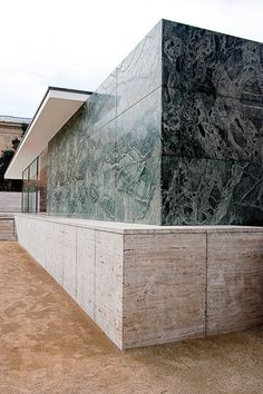 The materials of Mies van der Rohe's Barcelona Pavilion:  Glass, steel and four different kinds of marble (Roman travertine, green Alpine marble, ancient green marble from Greece and golden onyx from the Atlas Mountains) were used for the reconstruction, all of the same characteristics and provenance as the ones originally employed by Mies in 1929.