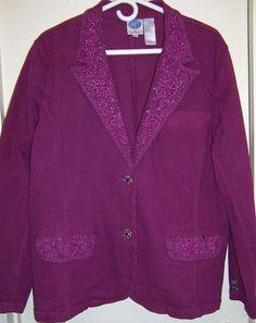 Diane Gilman DG2 Denim Jacket Embelished Beaded Rhinestone buttons 1X NWT Bling