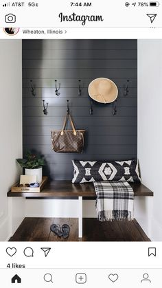 Mudroom bench designed in a floating oak feature with a black shiplap wall and iron hooks. Hallway Ideas Entrance Narrow, Modern Hallway, Entryway, Small Entrance, Small Entry, Entry Hall, Front Entry, Ship Lap Walls, Home Projects