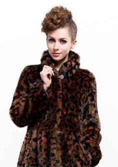 Valentino Fashion/coffee faux mink fur leopard grain fur with faux mink fur collar /long coat