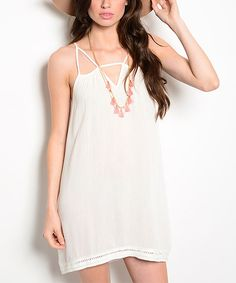Forever Lily Ivory Cutout-Neck Open-Back Shift Dress by Forever Lily #zulily #zulilyfinds