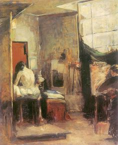 In atelier (1890). Olga Boznańska (Polish Impressionist Painter, 1865–1940). Oil on canvas. National Museum, Kielce.