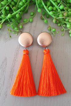 Display your striking personality by owning these pair of gorgeous orange tassel earrings! Stop hiding your uniquely dashing beauty and start flaunting it in the new year. Better still, you can wear these 100% hypoallergenic earrings all day and all year long without any allergic reaction! #handmadeearrings #hypoallergenicearrings Tassel Earrings, Statement Earrings, Drop Earrings, Pink And Red Dress, Orange Earrings, Valentine's Day Outfit, Stainless Steel Earrings, Earrings Handmade, Orange Color