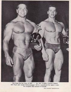Bill Pearl & Arnold Schwarzenegger at the 1967 Mr Universe