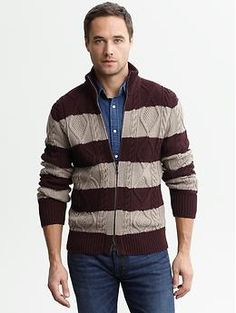 Heritage striped cable-knit zip cardigan | Banana Republic