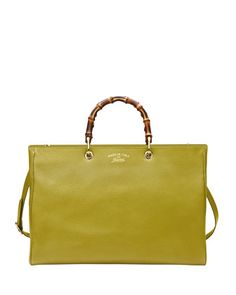 Bamboo Large Leather Shopper, Cardamom Green by Gucci at Neiman Marcus.