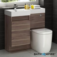 Light Walnut Combined Vanity Unit   Toilet and Basin   906x880mm - BathEmpire