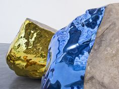 """Untitled"" (Mirror-polished metallic paint on stone, 2011) - Jim Hodges"