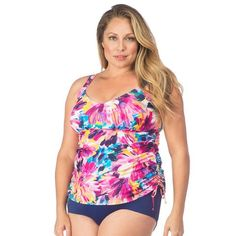 Swimsuits For All Women's Plus Size Side Tie Blouson Tankini Top Swimsuits For All, Plus Size Swimsuits, Women Swimsuits, Pretty Swimsuits, Tankini Top, Plus Size Outfits, Plus Size Fashion, Swimming, One Piece