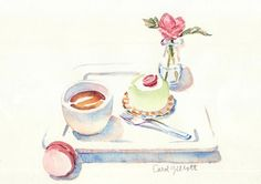Une aquarelle pour maman  gorgeous watercolor from The amazing Carol Gillot of Paris Breakfasts blog