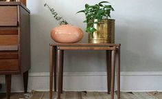 Wood table with potted plants