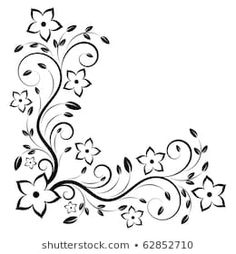 Similar Images, Stock Photos & Vectors of Beautiful lilies and abstract flowers - 182664719 Embroidery Patterns, Hand Embroidery, Photo Frame Design, Bordado Floral, Pyrography Patterns, Wreath Drawing, Simple Henna, Wood Burning Patterns, Doodle Designs