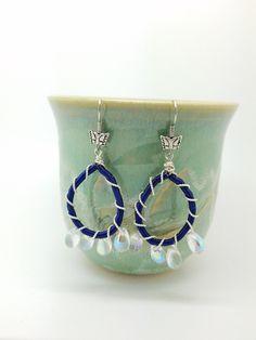 Mothers Day Dark Indigo Earrings Dark blue crystal Earrings -Blue Dangle  Earrings Blue wire coil earrings wire wrapping blue earrings by Luzjewelrydesign on Etsy