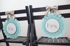 #DIYwedding - how to easily make these adorable Mr & Mrs wedding chair signs! #12monthsofmartha @Martha Stewart