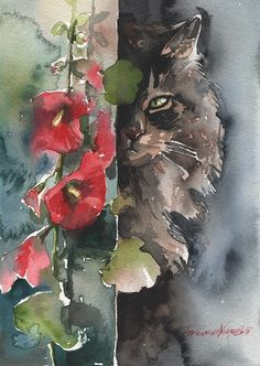 Tabby Fluffy Cat Original Watercolor Painting by creativeartistic