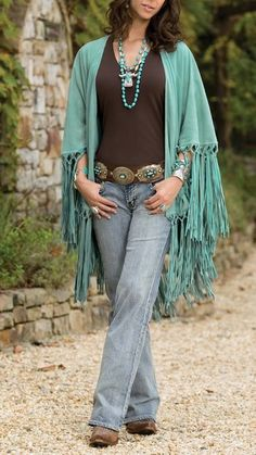 There's always room for turquoise! We love how the statement color is infused in this outfit!