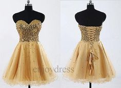 Custom+Gold+Sequins+Prom+Dress+Short+Ball+Gown+by+enjoydress,+$92.00