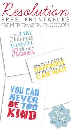Resolutions Free Printables - Free printables to make you happy! #freeprintable #art