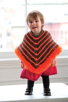 Free Knitting Pattern: Striped Furry Poncho Lion Brand® Hometown USA® - Fun Fur® Pattern #: L32037