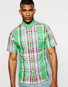 Polo Ralph Lauren Shirt in Poplin Multi Check Slim Fit Short Sleeves
