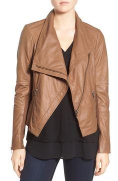 drape front leather jacket