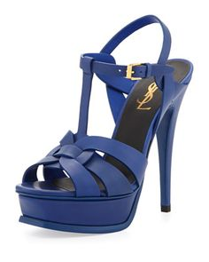 Tribute Leather Platform Sandal, Blue by yves Saint Laurent at Neiman Marcus.