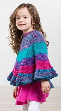 free knitting pattern for sweet tooth poncho this poncho is knit in one piece from the top down with a ruffled hem sizes 2 4 yrs 6 8 yrs designed by premier yarns perfect for gradient yarn - PIPicStats Poncho Knitting Patterns, Crochet Poncho, Knit Patterns, Toddler Knitting Patterns Free, Kids Poncho Pattern, Knitted Capelet, Knitting For Kids, Crochet For Kids, Free Knitting