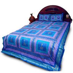 Blue Jaipuri Gold Print Cotton Double Bed Sheet 604