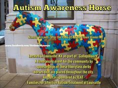 "Louisville, KY Kentucky Derby fiberglass autism awareness horse named ""Assault"" (after a 1946 Triple Crown Winner) is sponsored by FEAT of Louisville and located in front of Vincenzo's restaurant. Aspergers, Asd, Derby Horse, Triple Crown Winners, Horse Names, Autistic Children, Kid Rock, Fundraising Events"