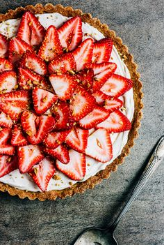 Strawberry and Mascarpone Tart with Pistachio Shortbread Crust — The Whole Bite