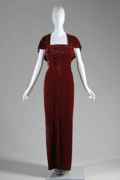 Edward Molyneux Silk Velvet Evening Dress, 1935