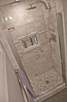 Small shower Tile in Shower stall- MAAX Insight in. W Swing-Open Shower Door in Chrome with Clear at The Home Depot Bathroom Inspiration, Bathroom Remodel Master, Bathroom Redo, Shower Remodel, Bathroom Remodel Shower, Bathroom Makeover, Shower Doors, Tile Bathroom, Master Bathroom