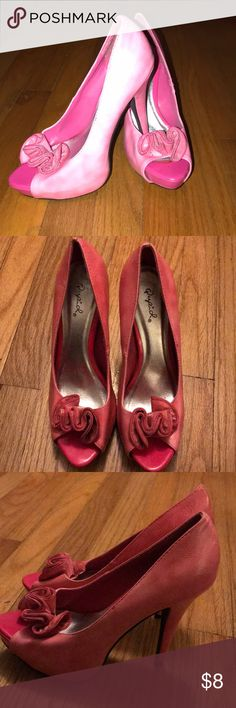 Barely worn pink high heels! 💕 I wore these to my high school graduation and never again. Cute to go out at night in. Qupid Shoes Heels
