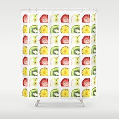 Fruit Slices Pattern Shower Curtain by Cindy Lou Bailey  - $68.00. A fun pattern of delicious slices of juicy fruits. A strawberry, a kiwi, a pineapple and an apple; in lovely shades of red, green, and yellow. Painted in watercolor on Hot Press arches watercolor paper by Cindy Lou Bailey.