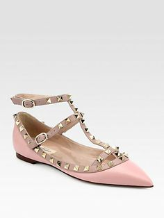 Wedding shoes, be still my heart. Valentino - Leather Rockstud Cage Flats - Saks.com