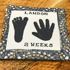Charcoal grey hand print and foot print impressions in clay with our signature textured border. Baby Hand And Foot Prints, Hand Prints, Baby Hands, Baby Feet, Baby Footprints, Pottery Studio, Charcoal, Clay, Shower
