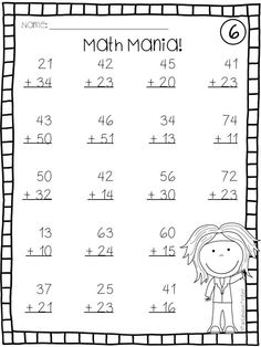 Addition and Subtraction Double Digit Math Facts without Regrouping Worksheets Addition Worksheets First Grade, Addition And Subtraction Worksheets, Kindergarten Math Worksheets, Math Addition, First Grade Math, Teaching Math, Kindergarten Addition, Grade 1, Second Grade