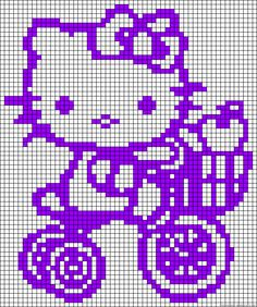 Hello Kitty tricycle perler bead pattern