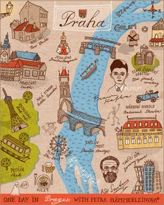 Lovely illustrated Prague map by Petra Haemmerleinova, via Illustration Friday. Great composition and I love the use of handwriting